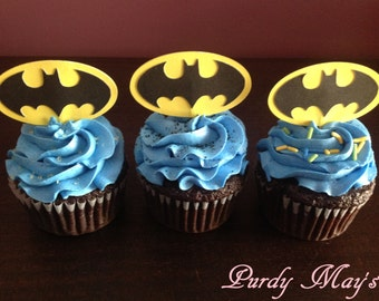 Batman Cupcake Toppers, Batman Cupcake Picks, Batman Party Supplies, Batman Birthday Party, Batman,  Batman Cupcake Toppers, Set of 12