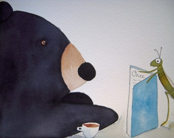Bear original watercolor, black grizzly bear resding with tea, children's art, grasshopper, woodland, whimsical, nursery art, green