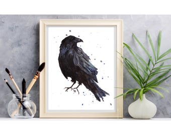 Watercolor Raven Print,  HAITIAN HELPERS FUND, Raven Print, Bird Lover,