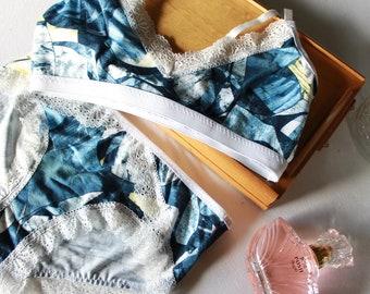 Modern blue lingerie set, artistic pattern, Sporty lounge wear