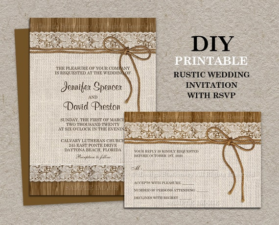 Wedding Invitations With Rsvp Cards Included: Rustic Wedding Invitation With RSVP Card Printable Burlap