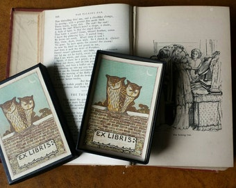 Ex Libris with owls