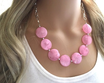 Blush Pink Statement Necklace & Earrings, pink jewelry, Your Choice GOLD or SILVER, pink bib chunky necklace, pink necklace, pink circle