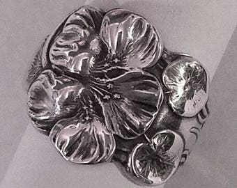 Sterling Silver Hibiscus FLOWER Spoon Ring