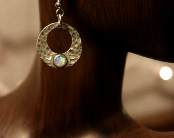 Sterling Silver Circles with Opal and Hammer Texture