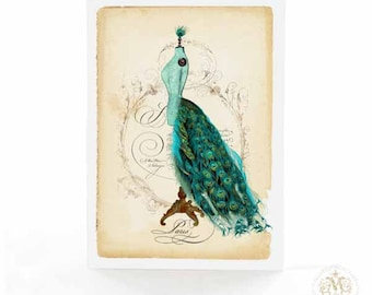 French Mannequin, birthday card, blank card, peacock tail bustle, vintage dress form, Paris fashion, all occasion card