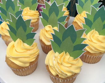 PRINTABLE Pineapple Tops Cupcake Toppers. Cupcake Toppers for Luau, Pineapple Party, Baby Shower, Bridal Shower. Instant Digital D