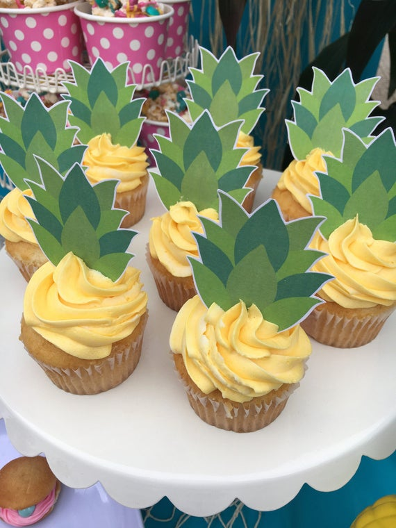 PRINTABLE Pineapple Tops Cupcake Toppers. Cupcake Toppers for