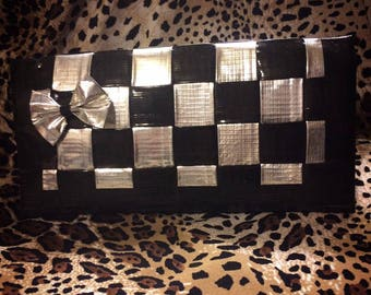 Sale Silver and Black Woven Duct Tape Womans Wallet