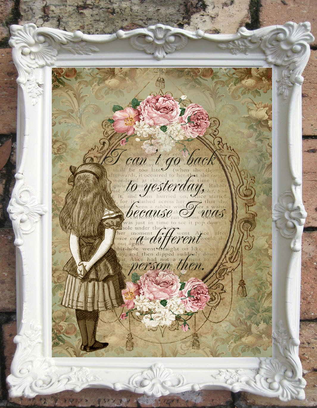 Shabby Chic Wall Decor Alice In Wonderland Quote Art Printalice In Wonderland