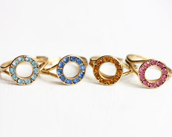 Crystal Circle Ring, Colorful Ring, Crystal Ring, Gold Crystal Ring, Circle Ring, Round Gold Ring, Gold Stone Ring, Adjustable Crystal Ring
