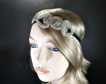 Gatsby headpiece for Flapper dress, Silver flapper headband, 1920s headpiece, 1920s headband, Gatsby headband, Roaring 20s hair piece