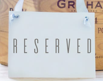 """Modern """"RESERVED"""" Sign Seat Banner Hanging Handmade Sign for Event Or Conference 1663 BW"""