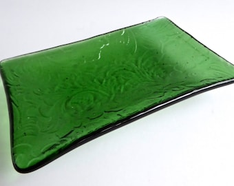 Fused Glass Floral Imprint Dish in Light Green by BPRDesigns