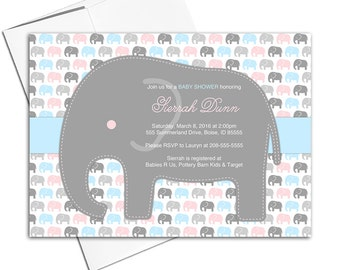 Elephant baby shower invitations neutral | pink blue baby shower invites | gender reveal party | printable or printed - WLP00735