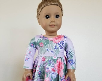 Lavender Tropocal Print Skater Dress for American Girl Dolls by The Glam Doll