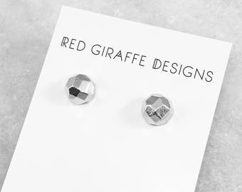 Faceted Ball Stud Earrings | Silver Plated | Gold Plated | Geometric Earrings | Sterling Silver Posts