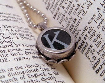 Vintage Typewriter Key Necklace Pendant Letter K with 18 Inch Ballchain