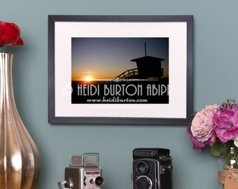 Photographic Art Print of Sunset on Santa Monica Beach.  Unmounted colour wall art, landscape, poster print, choose your size.