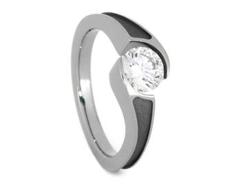 Diamond Engagement Ring With Sandblasted Titanium Finish. Tension Set Ring, Twist Solitaire Engagement Ring