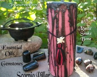 """SCORPIO CANDLE 6"""" ~ Black Cauldron ~ Rattle Snake Bone & Gemstones ~ Gift Box"""