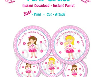 Dolly and Me Birthday Party  Favor Tags -- Instant Download -   Printable Dolly and Me Party Favor Tags