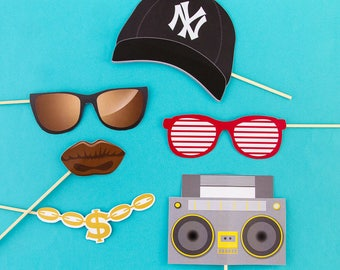 Kit 6 Hip Hop photobooth accessories