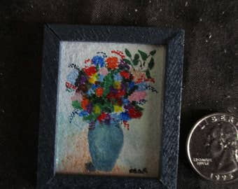 Miniature handmade painting, doll house accessories