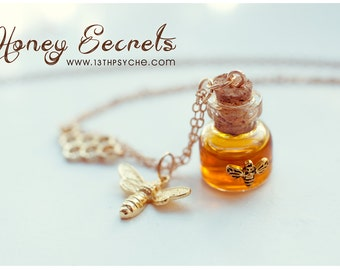 Inspirational gift for women Honey Bottle necklace,honey necklace honeycomb necklace,bee jewelry,miniature jewelry,potion necklace