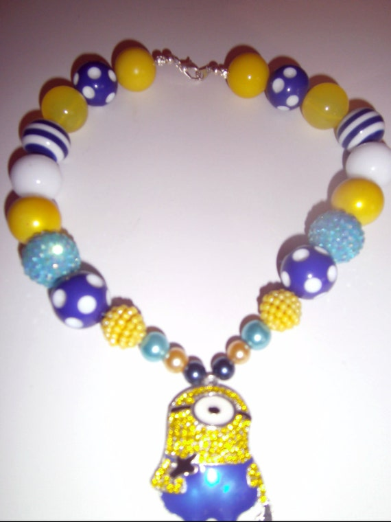 Minion Despicable Me Girls Bubblegum Bead Necklace, Chunky Bead Necklace, Toddler Necklace, Kids Jewelry, Girls Costume, Handmade, 17 inches