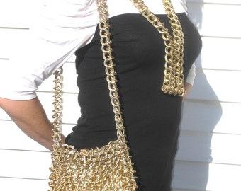 1960s Raoul Calabro mettalic mod chain handbag and matching necklace - 1960s mod purse - 1960s handbag - mod chain bag - 1960s vintage purse