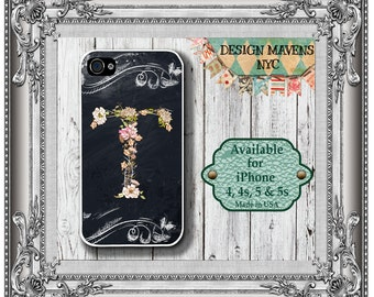 Floral Initial iPhone Case, Monogrammed iPhone Case, iPhone X, iPhone 8, 8 Plus, iPhone 7, 7 Plus, iPhone SE, iPhone 6, 6s, 6 Plu 5, 5s, 5c