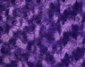 Ruth PURPLE Cuddle Minky Rosette Soft Faux Fur Fabric by the Yard - 10083