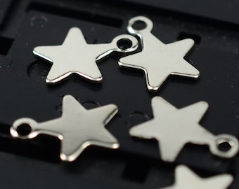 200 Pieces Silver Tone 10x8 mm Star Findings