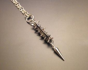 Serpentine sterling silver snake vertebrae necklace - single spike