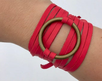 Circle Ring Leather Wrap Bracelet Rustic Red Leather Wrap Bracelet Boho Deerskin Leather Wrap Cuff Bracelet Candy Apple Red Leather Wrap