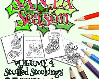 Christmas Coloring Book with Stockings and Gifts - 25 Mandalas, Patterns & Drawings to Color and Enjoy -Magical Design Coloring Books