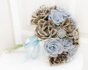 brooch bouquet, wedding bouquet, bridal bouquet, bridesmaids bouquet, paper flower bouquet, music paper bouquet, alternative bouquet