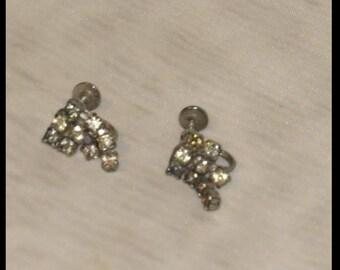 Rhinestone Earrings VINTAGE SCREW BACK EARRiNGS