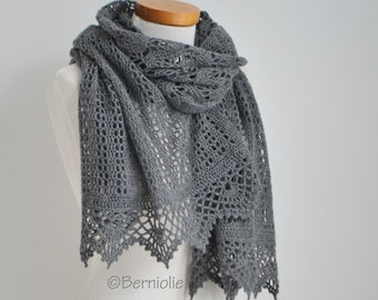 Crochet lace shawl, Gray, R632