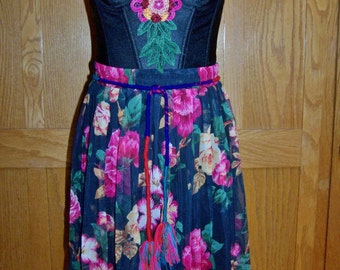 Floral Party dress, Corset Dress, Gypsy dress, strapless dress, Floral corset dress, size M