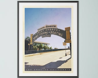 Santa Monica Pier, California. Mid Century Modern, Travel Art, Collage, Giclee Print, Retro Style, Wall Art