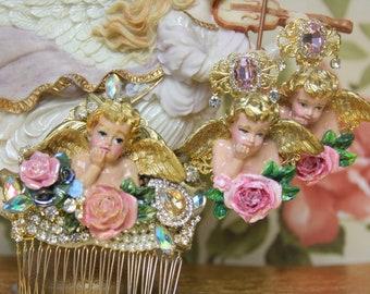 Hand Painted Cherub Angel Pink Crystal Rose  Studs Earrings