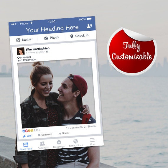 Facebook Frame Photo Booth Prop Fully Customised Digital