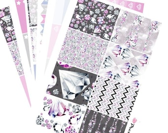 Lucy Erin Condren Planner Stickers Weekly Sticker Kit Diamonds in the Sky glossy or matte stickers