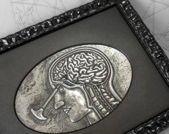 Transorbital : hand embossed anatomical repoussé metal wall art