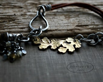 Oak Leaf Bracelet 24k Gold Vermeil Citrine Cluster Raw Amber Rustic Bracelet on Leather Strap Oxidized Silver Layering Jewelry by Letemendia