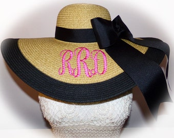 Personalized Floppy Hat Natural, Monogrammed Beach Hat, Sun Hat, Bride, Wedding, Honeymoon or Bridesmaids, Beach, Derby, Cup Race