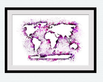 Watercolor world map illustration, colorful world map poster, vivid world map print, home decoration, wall hanging gift, nursery room, W139