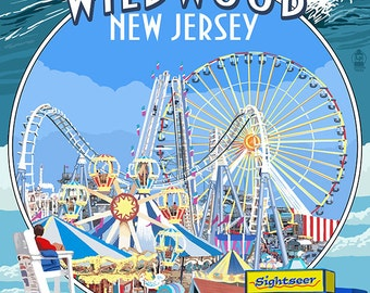 Wildwood, New Jersey - Montage (Art Prints available in multiple sizes)